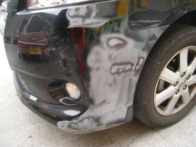 トヨタ、ボクシーのキズ、へこみ板金塗装しゅうり(半田市からご来店)