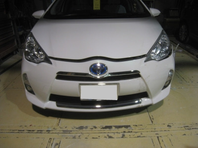 トヨタ、アクアのキズ、へこみ板金塗装修理 (碧南市からご来店)